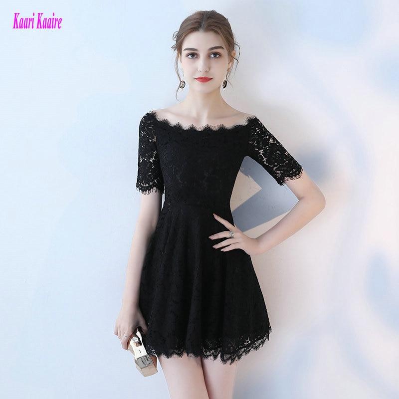 Stylish Lace Black   Prom     Dresses   2019 Sexy   Prom     Dress   Short KAARIKAARIE Boat Neck Zipper KAARIKAARIE Slim Fit Cocktail Party Gown