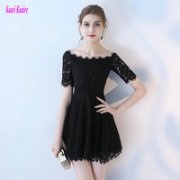 Stylish Lace Black Prom Dresses 2019 Sexy Prom Dress Short KAARIKAARIE Boat Neck Zipper KAARIKAARIE Slim Fit Cocktail Party Gown