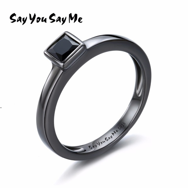 925 Sterling Silver Rings Wholesale Party Wedding&Engagement Black Zircon Rings