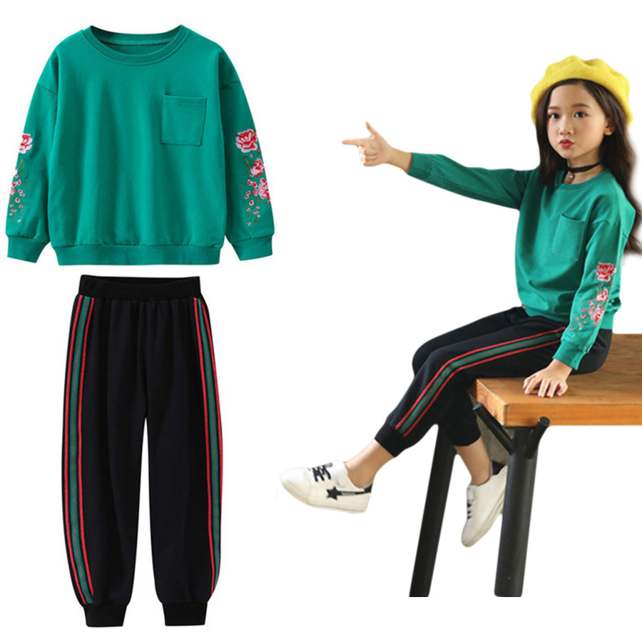 Fall Sweatshirts For Girls Clothes Sets Teen Girls Clothing Childrens Suits Flowers Embroidery T Shirt+Pants Kids Tracksuits 14Fall Sweatshirts For Girls Clothes Sets Teen Girls Clothing Childrens Suits Flowers Embroidery T Shirt+Pants Kids Tracksuits 14