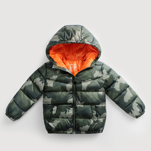 2016 autumn winter children's cotton jacket zipper boys camouflage parkas duck down coats for kids hooded tops for 3-8 years