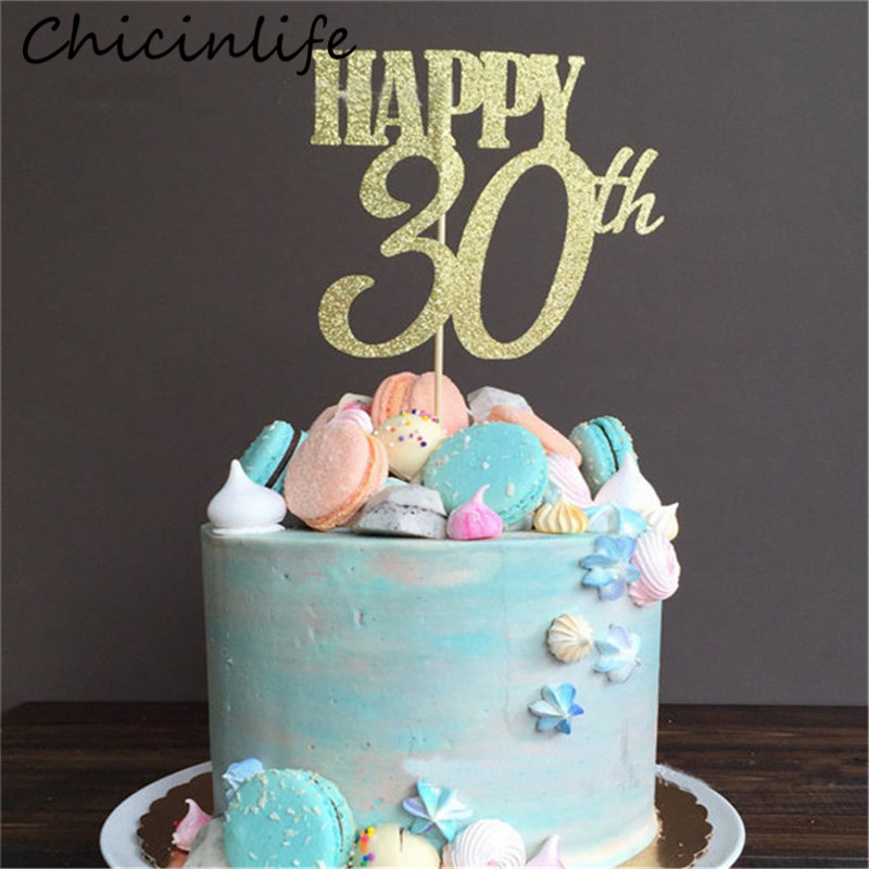 Miraculous Chicinlife 1Pcs Gold Happy 30Th 40Th 50Th 60Th Cake Topper Adult Funny Birthday Cards Online Alyptdamsfinfo