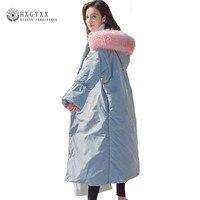 สีชมพูขนแฟชั่นคลุมด้วยผ้าเสื้อหนาวผู้หญิง2017 X-ขนาดใหญ่ยาวแจ็คเก็ตผ้าหญิงทนกว่าที่อบอุ่นผ...