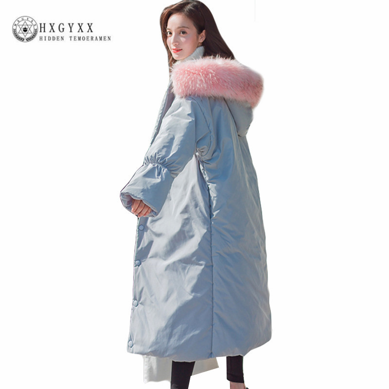 Pink Fur Fashion Hooded Winter Coat Women 2017 X-Long Oversized Quilted Jacket Female Outwear Warm Cotton Military Parka Okb233 women lady thicken warm winter coat hood parka overcoat long outwear jacket
