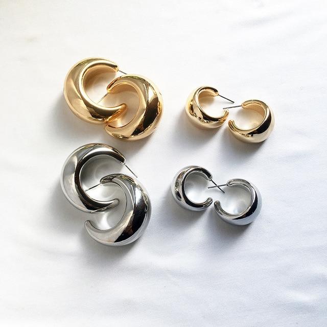 Street Style CC Hoop Chunky Gold Silver Small Big Hoop Earrings For Women Punk Metal Gold Circle Earrings 2