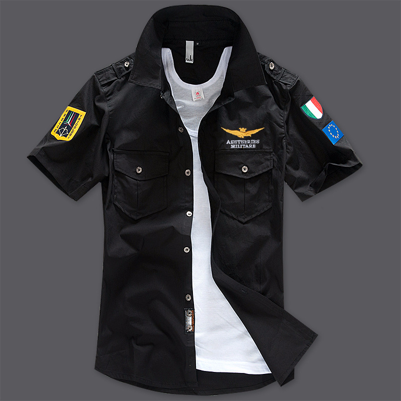 Men's Shirts Short-Sleeve Air-Force Embroidered Military Cotton High-Quality Beach Summer title=