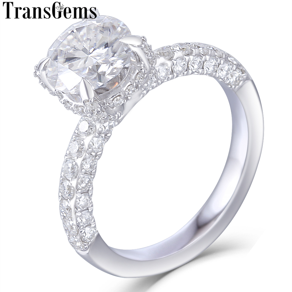 Transgems 14K White Gold Main 1 5ct 7 5mm F Color Moissanite Under Halo Engagement Ring