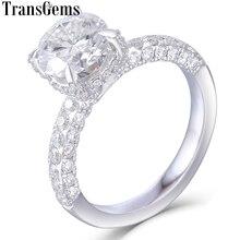 Женское Обручальное кольцо с муассанитом, белое золото 585 пробы, 7,5 карат
