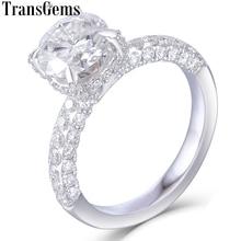 خاتم خطوبة مستدير للنساء من transgem 14K 585 لون ذهبي أبيض 1.5ct 7.5 مللي متر F