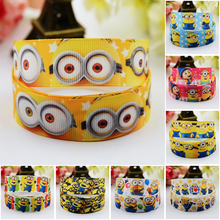"7/8"" (22mm) Ruban Minions Cartoon Character printed Grosgrain Ribbon party decoration satin ribbons OEM 10 Yards"