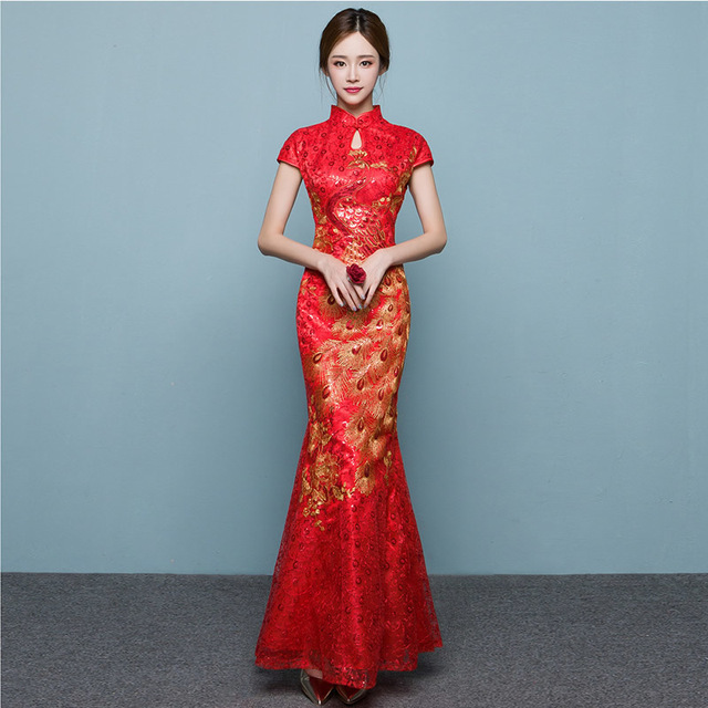 Red Phoenix Fish Tail Luxury Cheongsam Traditional Chinese
