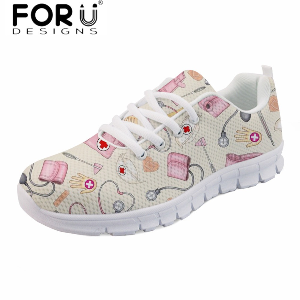 FORUDESIGNS Brand Design Women Casual Flats Cartoon Nurse Printing Comfortable Spring Walk Shoes Girls Mesh Light Lace Up Shoes forudesigns women casual sneaker cartoon cute nurse printed flats fashion women s summer comfortable breathable girls flat shoes