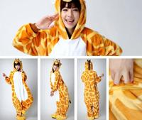 Cute Cartoon Animal Giraffe Sleepwears Cosplay Costumes Party Hooded Pyjama For Adults Women And Man