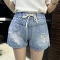 Джинсовые шорты летом стиль 2016 слабины канатов плотно отверстия Большой размер шорты Ropa Mujer старинные джинсовые шорты Vestidos Femininos