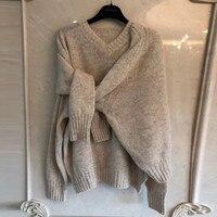 Стиль Модные свитеры Для женщин дизайнер 2018 осень зима v образным вырезом вязаный Джемпер Повседневное