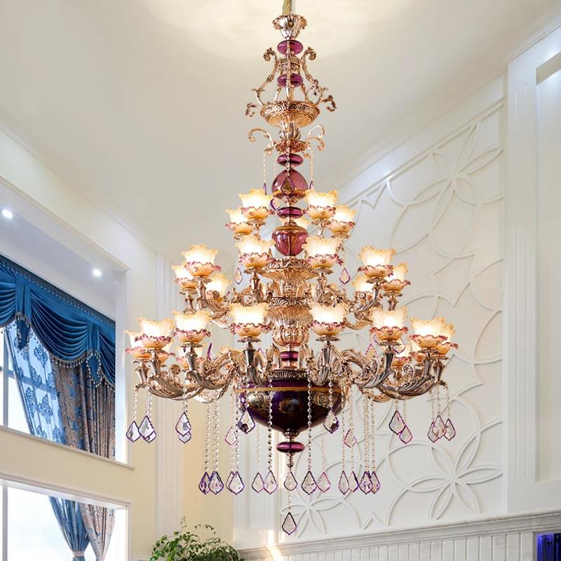 Crystal Chandelier Trash Club: French Duplex Living Room Large Chandelier Villa Hotel