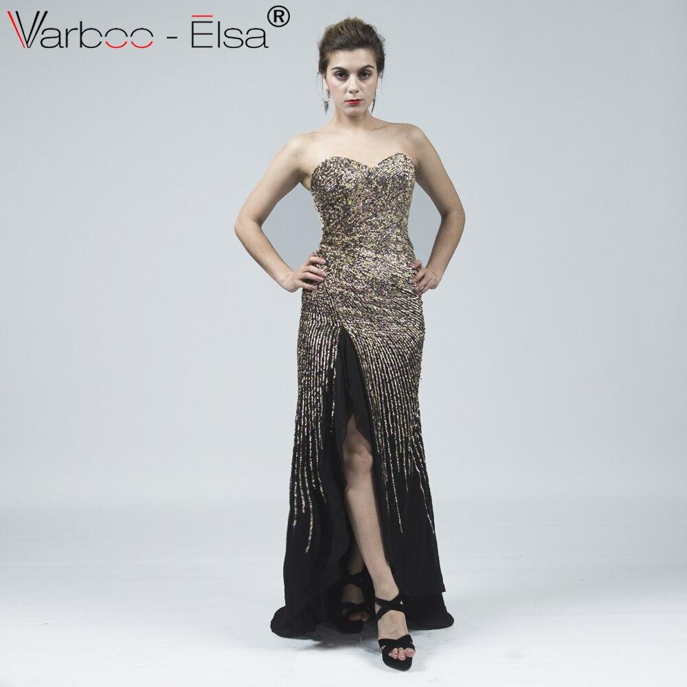 VARBOO ELSA 2018 Bling Bling Black Chiffon Evening Dress Sequined Beading  Long Prom Dress Front Split Formal Gown Robe De Soiree 563b38d4fd6f