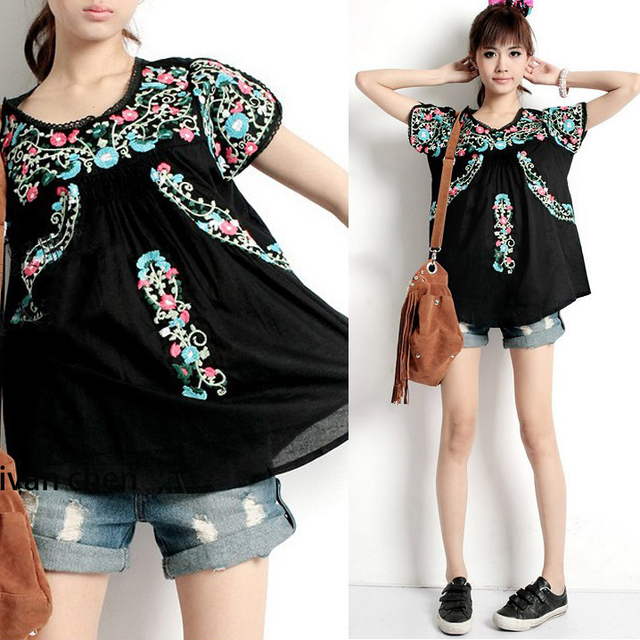 3dd90a8982ffc5 Women Vintage 70s Scallop Tops Hippie Mexican Boho Tunic Ethnic Floral  Embroidered Blouse Blusa Feminina Cotton Free shipping