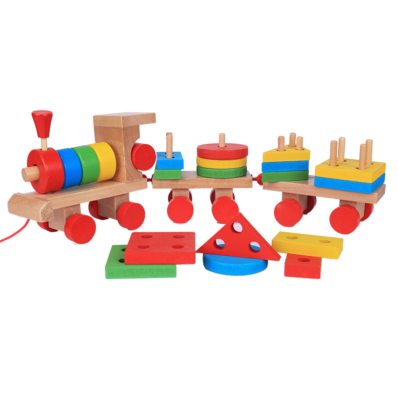 Baby Toys Kids Trailer Wooden Train Vehicle Blocks Geometry/Color Congnitive Blocks Child Education Birthday/Christmas Gift 50pcs hot sale wooden intelligence stick education wooden toys building blocks montessori mathematical gift baby toys