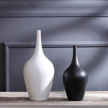 TV cabinet white black ceramic creative contracted flower vase home decor craft room decoration handicraft porcelain figurine