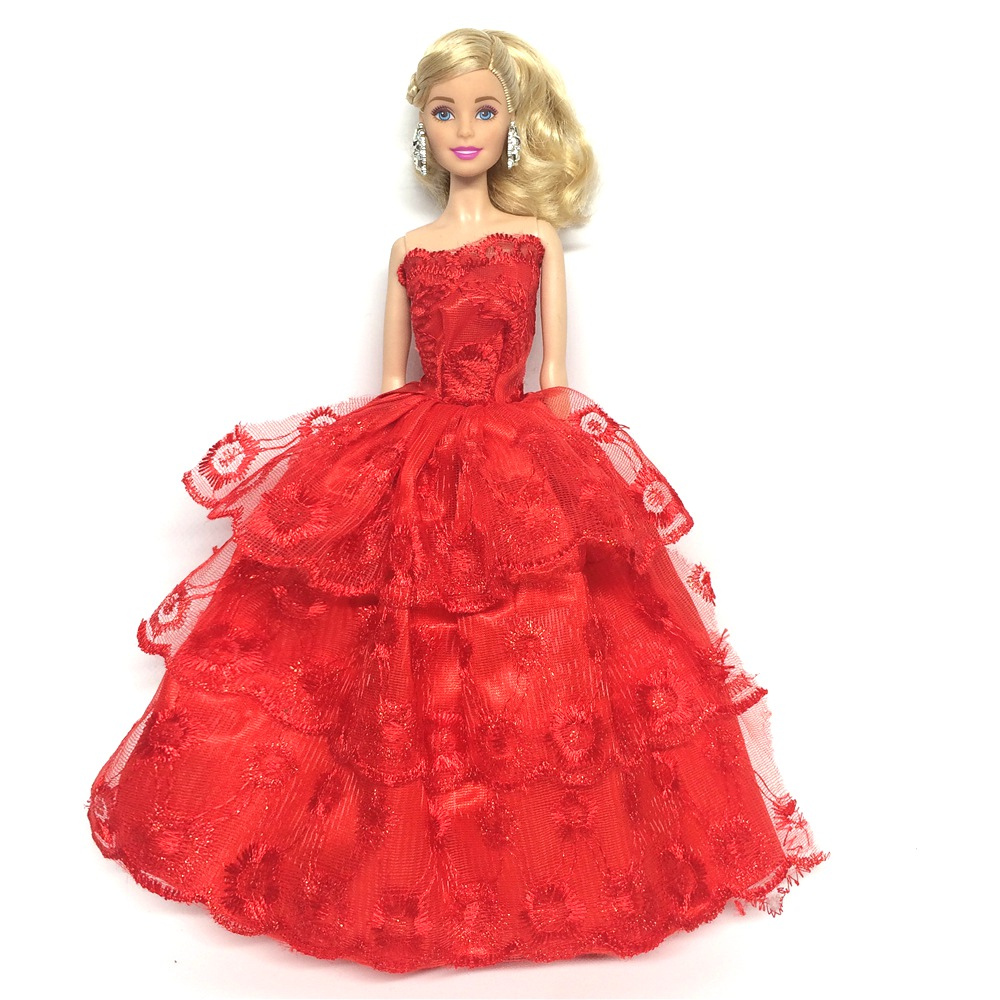 NK One Pcs   Princess Doll Wedding Dresses Noble Party Gown For Barbie Doll Fashion Design Outfit Best Gift For Girl' Doll