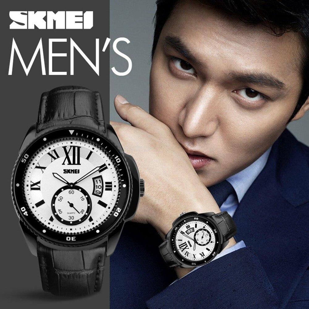 Watches Business Leather Band Skmei Quartz Waterproof Men Wristwatch Fashion Design Digital Watch