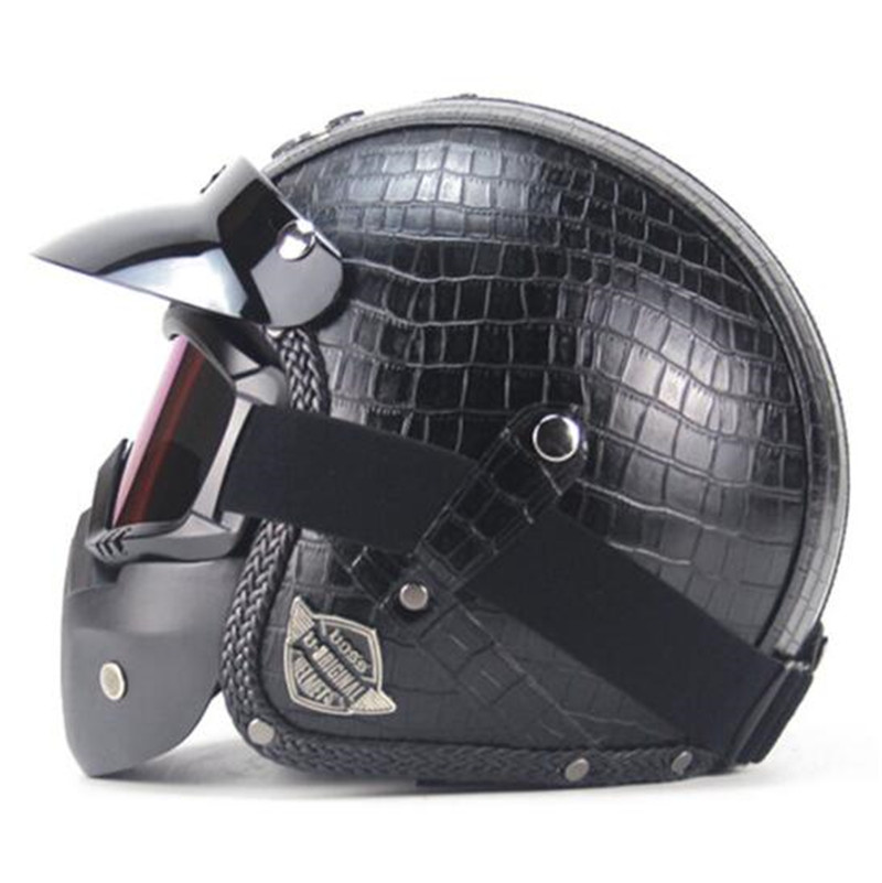 New Retro Vintage Motorcycle Helmet Synthetic Leather 3/4 Open Face Helmet Cafe Racer Cruiser Chopper Casco Moto Helmet DOT
