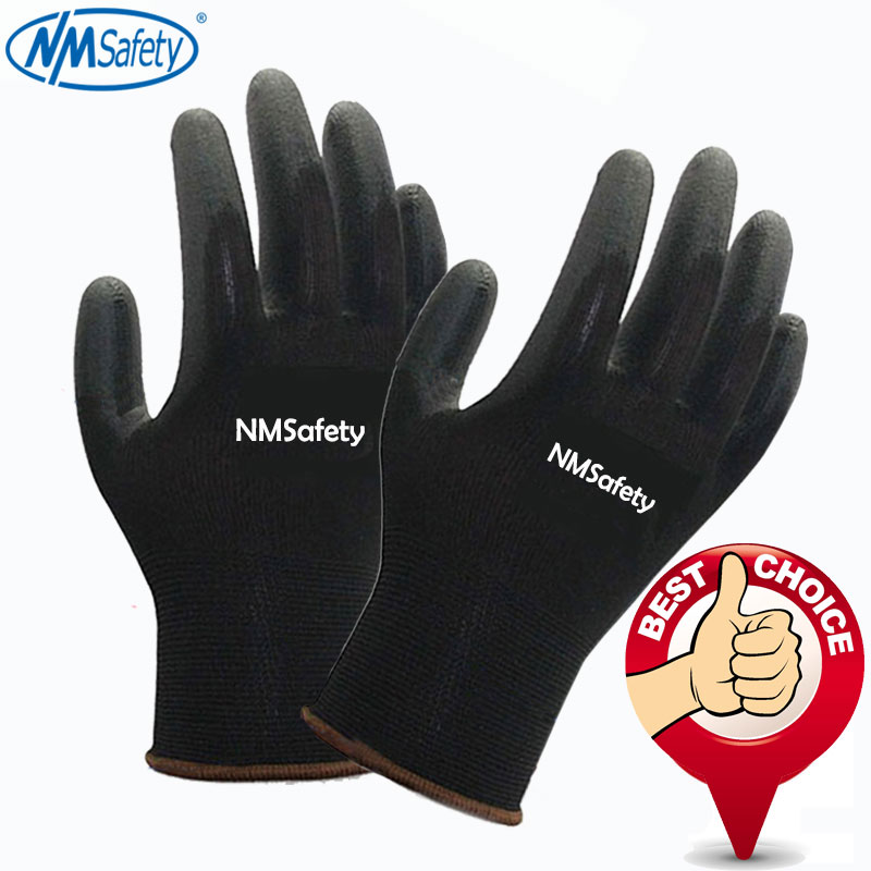 NMSAFETY 13G black PU Work Gloves Palm Coated working gloves,Workplace Safety Supplies,Safety Gloves guantes trabajo nmsafety 3 pairs comfortable flower print polyeaster liner coated pu gloves women work in gardening great gloves online