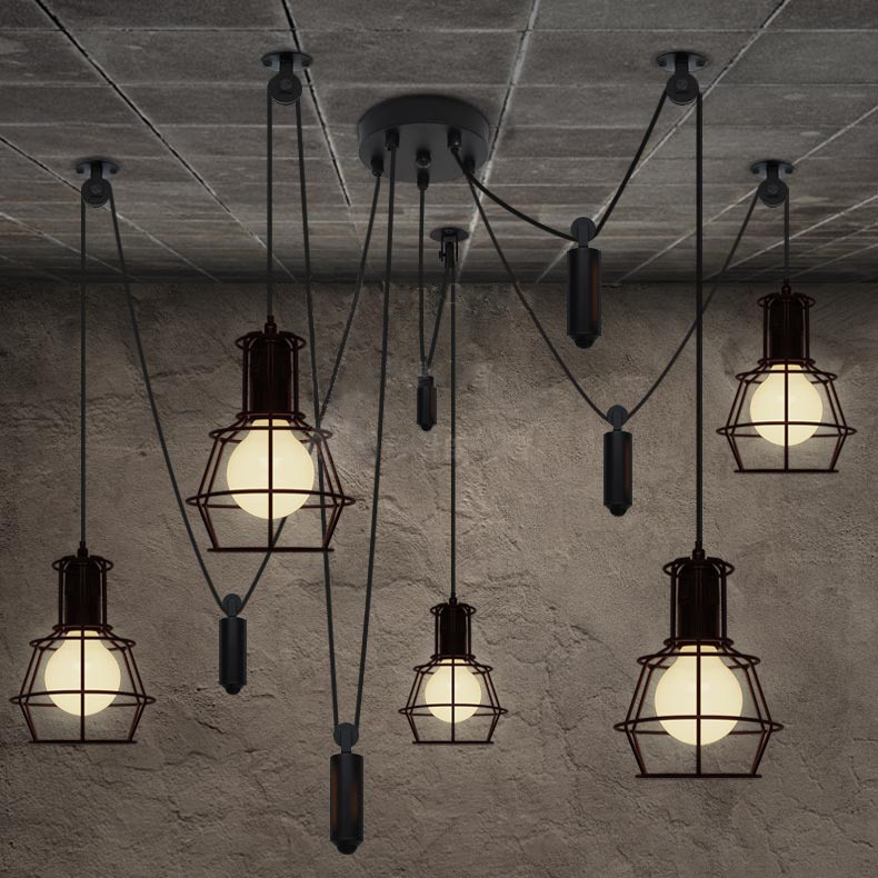 Vintage loft Industrial pendant light with 5 edison bulb dropshipping