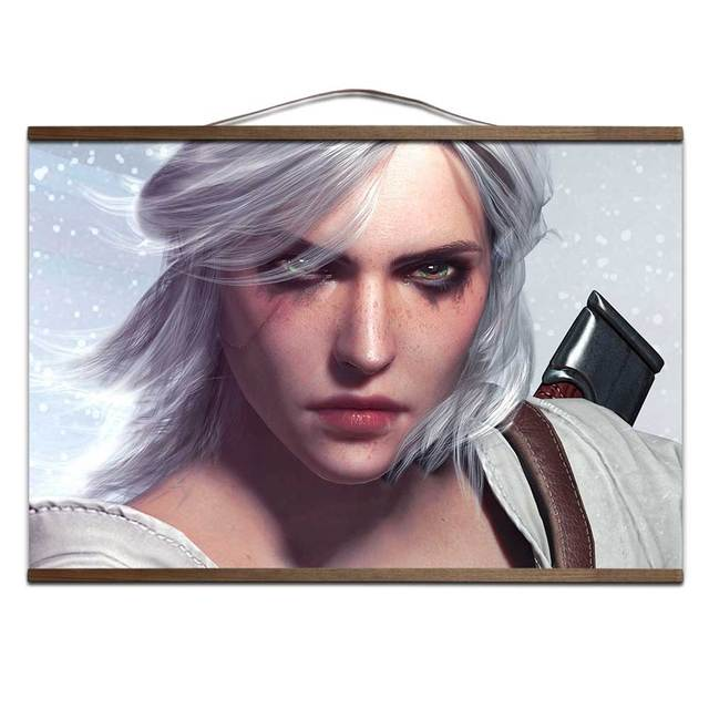 The Witcher 3: Wild Hunt poster for HD canvas posters prints decoration painting with solid wood hanging scroll no frame
