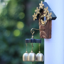 BUF Copper Birds Nest Wind Chimes Antique House Decoration Windchimes Luxurious Retro Wall Hanging Gift