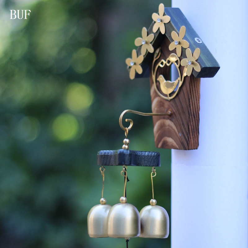 BUF Copper Bird Nest Wind Chimes Antique House Decoration Windchimes Luxurious Retro Wall Hanging Decoration Gift
