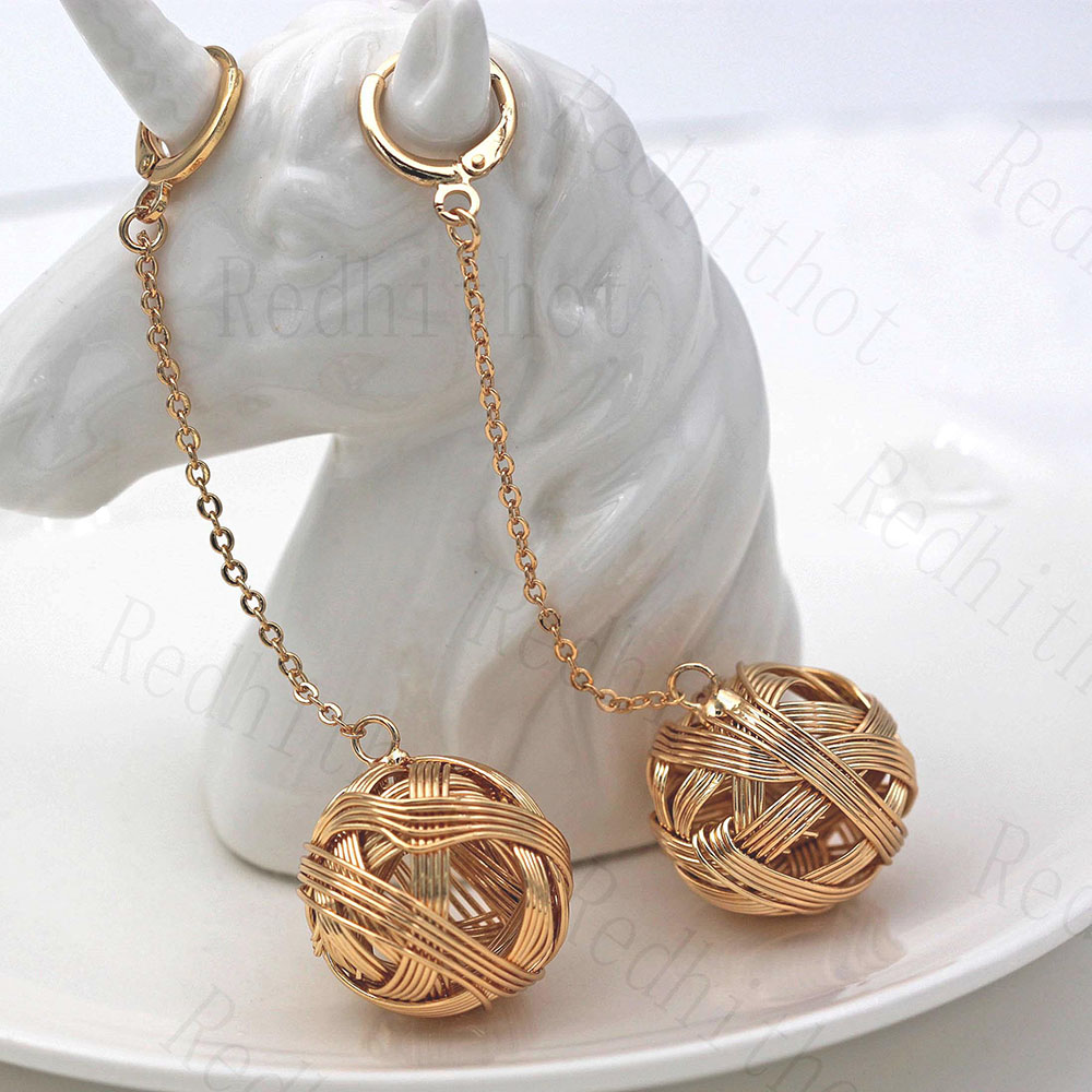 Earrings for Women Gold Plating Disco Ball Flash Drop Earring Round Rock Punk Earrings Trendy Jewelry for Party Club(China)