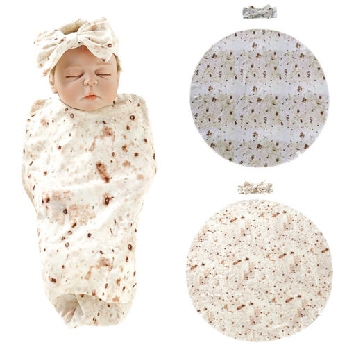 Toddler Newborn Infant Baby Mexican Burrito Cotton Soft Swaddle Blanket Wrap Towel Bedding Accessories With Headband 2Pcs
