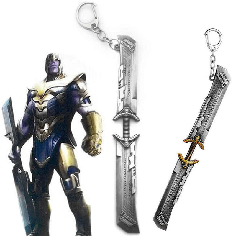 Avengers 4 Endgame Thanos Double-edged Sword Blade Key Chains Cosplay Keychain Keyring