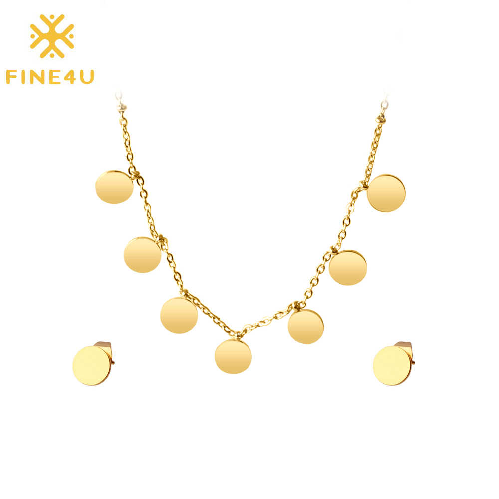 FINE4U N131 Stainless Steel Bridal Wedding Jewelry Sets Gold Color Tiny Coins Choker Necklaces Earrings Sets Mother's Day Gifts
