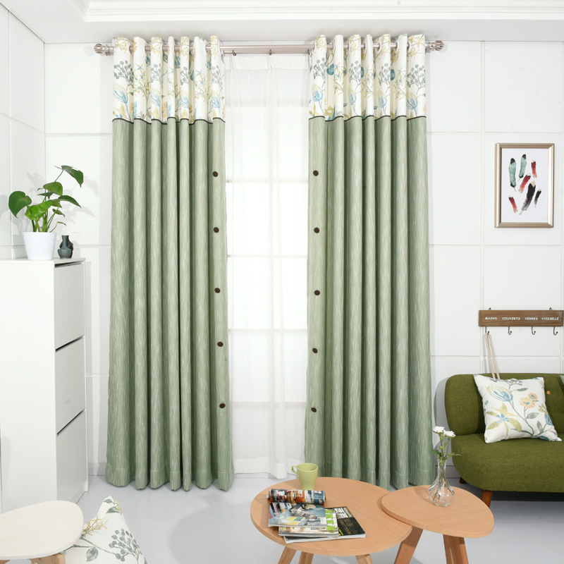 Korean Pastoral Style Blackout Living Room Blinds With Decorative Buttons Linen Sheer Green Curtains For Bedroom Flowers In From Home Garden