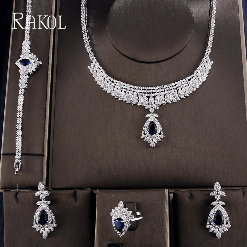 RAKOL Gorgeous Luxury Full Pave Cubic Zirconia Fashion Wedding Jewelry Set For Women Water Drop Shape Necklace Earrings Rings