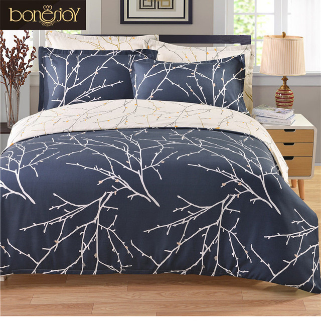Europe Style Twin Queen King Duvet Cover Set Tree Branches Printed Jacquard Covers