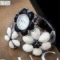 Relojes de Pulsera Marca de Moda de Lujo Reloj de Señoras de las mujeres Negro Blanco Flores Rhinestone Elegante Reloj de pulsera de Las Muchachas Reloj