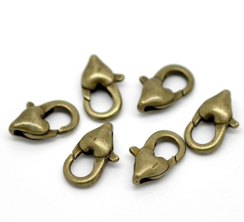 DoreenBeads Zinc metal alloy Lobster Clasp Antique Bronze Heart Pattern 12mm( 4/8) x 7mm( 2/8), 3 PiecesDoreenBeads Zinc metal alloy Lobster Clasp Antique Bronze Heart Pattern 12mm( 4/8) x 7mm( 2/8), 3 Pieces