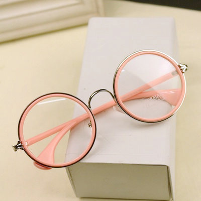 The latest round of retro glasses Mint Green Pink Sexy flat mirror ...