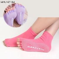 5 Pairs Lot Pilates Toe Socks Non Slip Durable Pilates Socks Half Toe Ankle Grip Cool