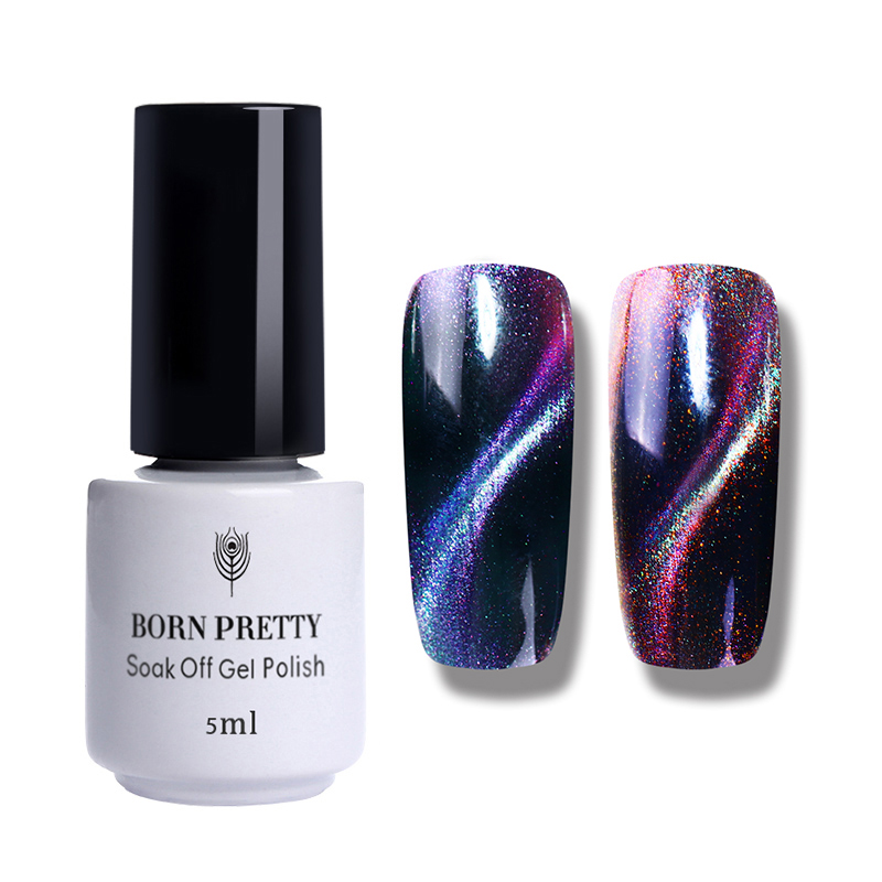 Born Pretty Holographic Chameleon Cat Eyes Nail Gel 5ml Magnetic Soak Off Uv Gel Manicure Nail Art Varnish Black Base Needed #5