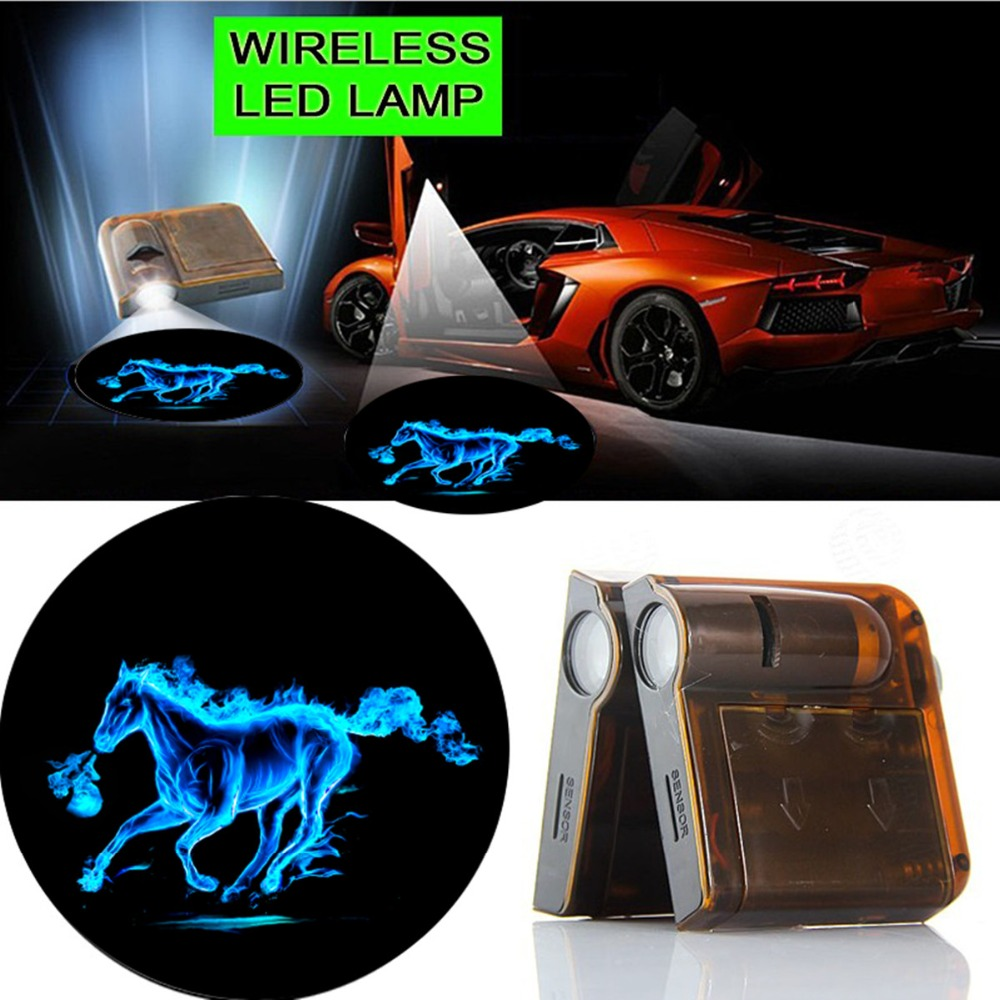 2x Car Led Light 12V Auto Door Welcome Wireless Light Projector Shadow Ghost Lamp GOBO Puddle Logo For Mustang Fire Horse #1448 2 pcs fc barcelona wireless led car door projectors