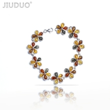 Genuine Sterling silver bracelet natural amber beeswax  Bracelets Shipping  antique jewelry Europe and the United States back jiuduo genuine romantic love god heart bracelet amber beeswax dream floral heart bracelets shipping s925 silver jewelry