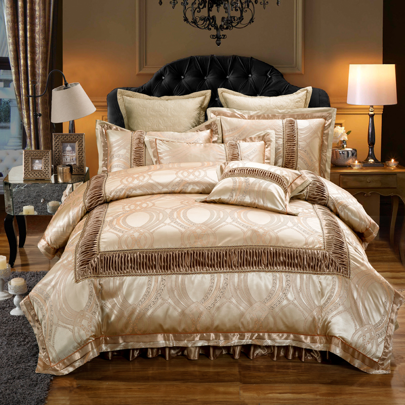 Golden Red Luxury Wedding Bedding set King Queen size Cotton Stain Jacquard Bed set Duvet Quilt