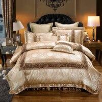 Золотой красный роскошные свадебные постельных принадлежностей король queen размер хлопок пятно постельное белье жаккард одеяло/Стёганое од
