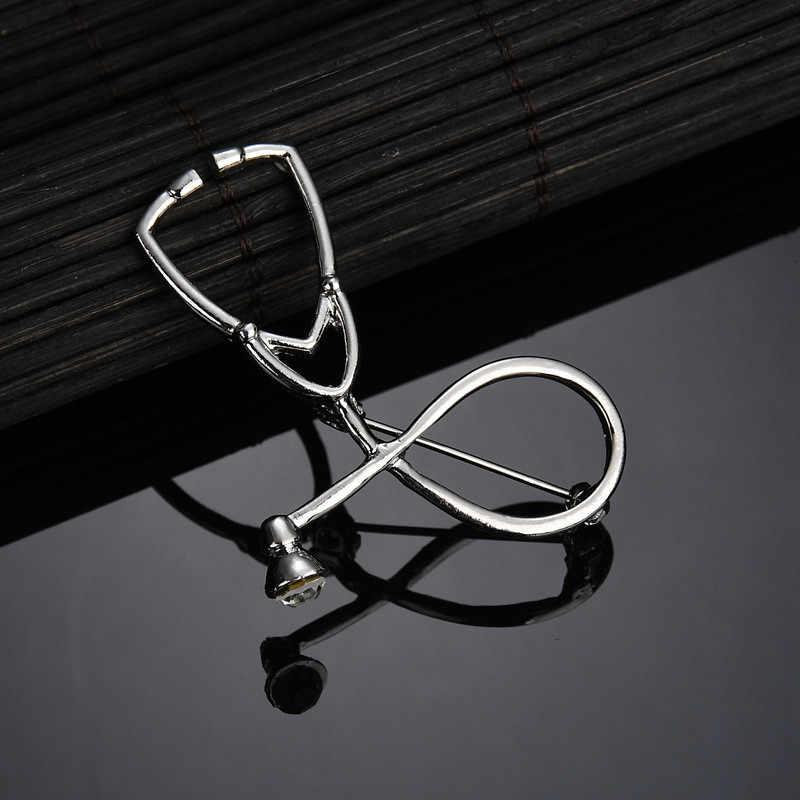 SexeMaraคุณภาพสูง 2 สีเข็มกลัดหมอพยาบาลStethoscopeเข็มกลัดเครื่องประดับทางการแพทย์Enamel Pin Denimแจ็คเก็ตCollar Badge Pin