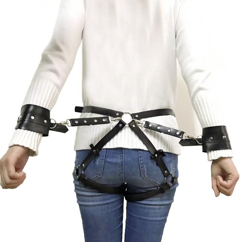 2019 New Sexy Women Adjustable Leather Bowknot Belts Body Bondage Cage Punk Sculpting Harness Waist Belt Straps Belt Accessories